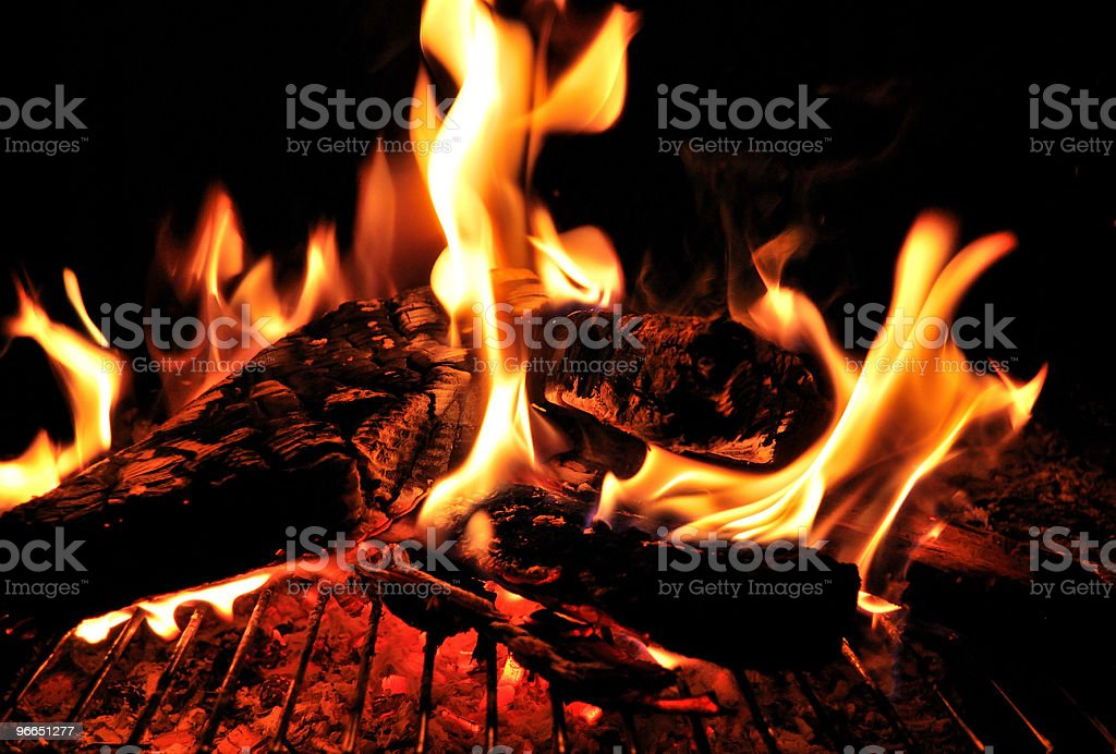 Fire Pit Grill at Night stock photo