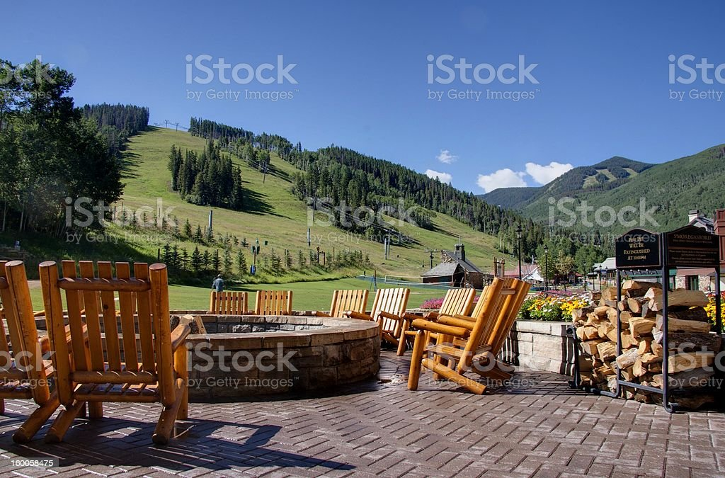 Fire pit in the mountains stock photo