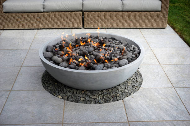 fire pit on patio stock photo
