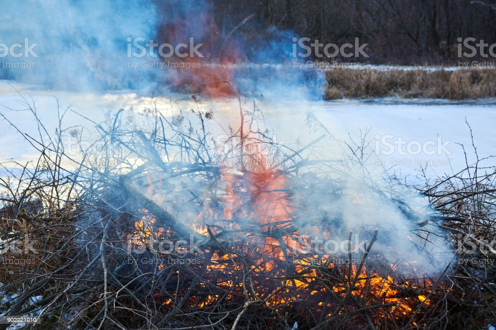 Fire place at lake shore stock photo