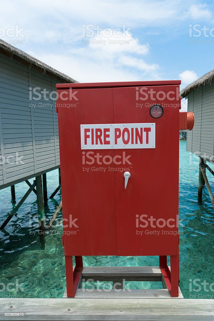 Fire point sign at the bungalow,Maldives stock photo