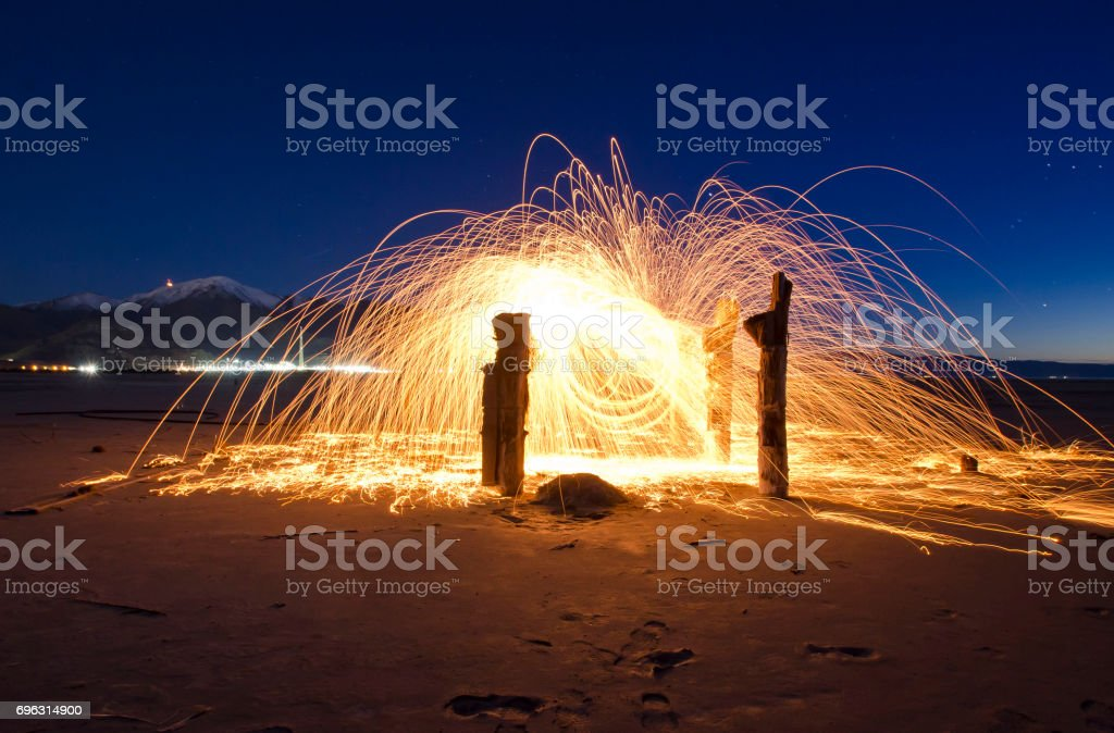Fire posts stock photo