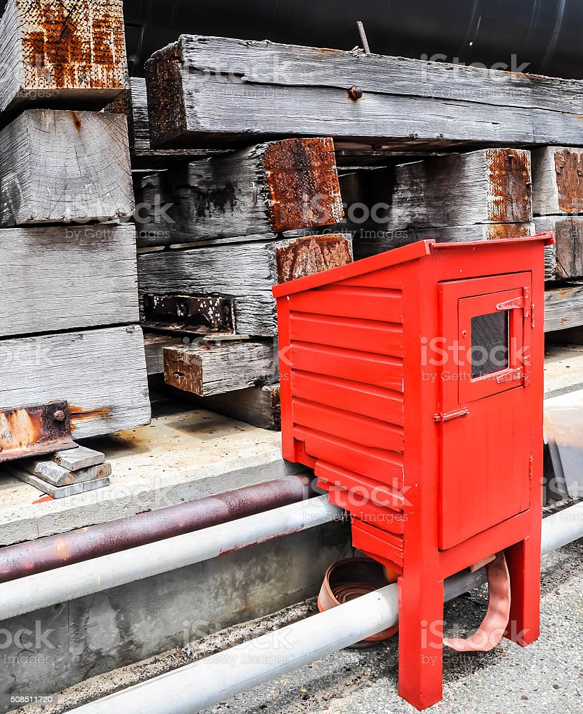 Fire Prevention: Hose Reel Cabinet stock photo
