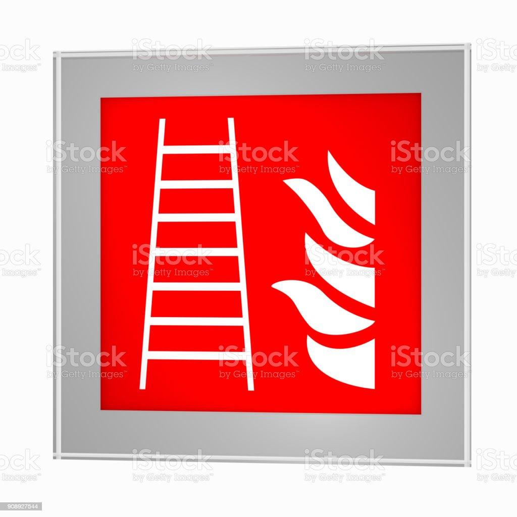 Brandschutzzeichen Nach der dabei Form der ASR a1. 3: Feuerleiter, Im Glasrahmen. – Foto