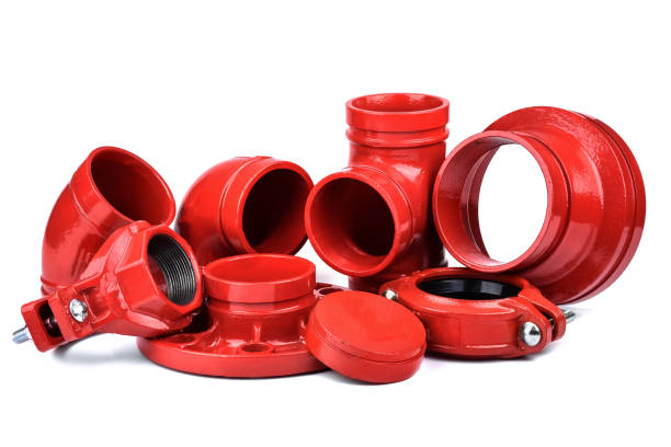 Fire Protection Pipe Fittings and Piping Connections Fire Protection Pipe Fittings and Piping Connections isolated on white background coupling device stock pictures, royalty-free photos & images