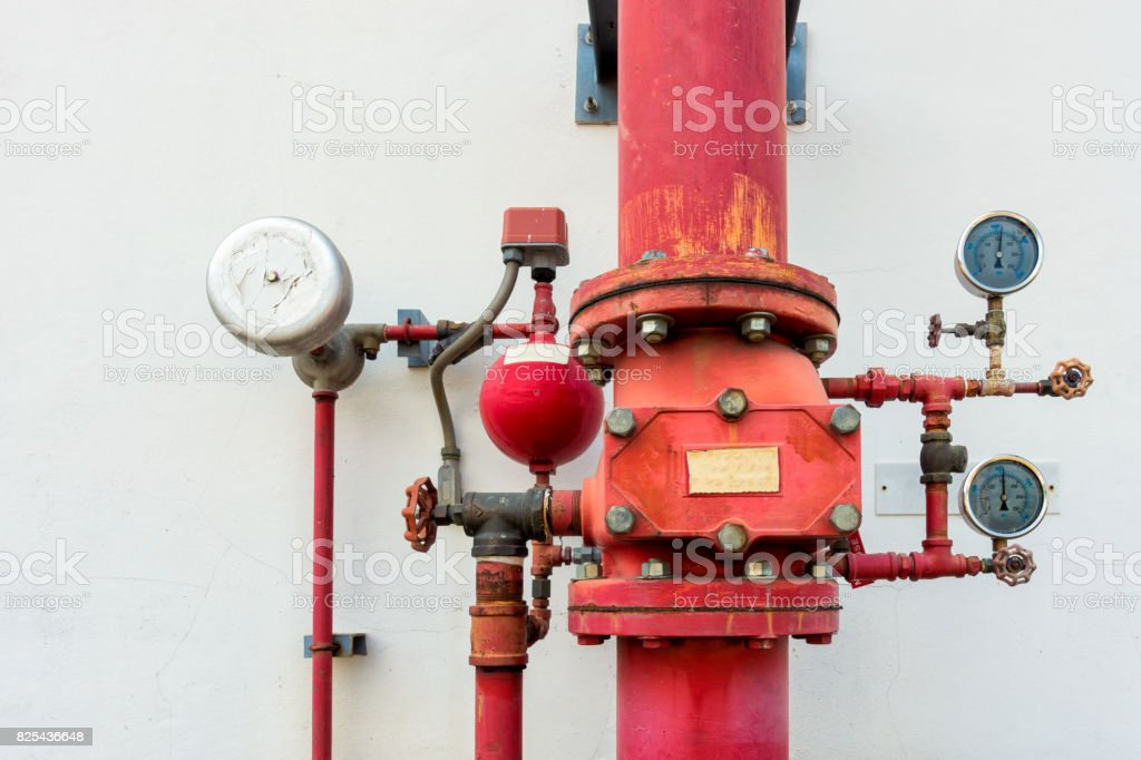 Fire protection system and fire alarm control system stock photo