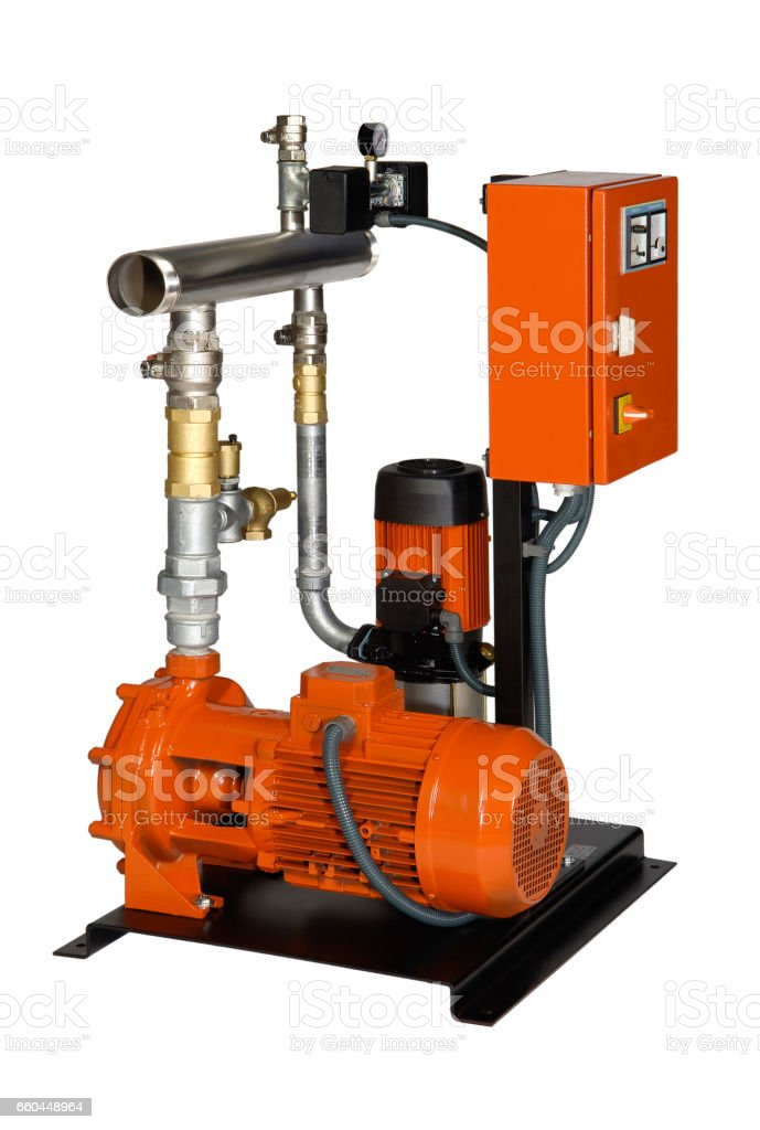 Fire protection with electric motor and gasoline, stock photo