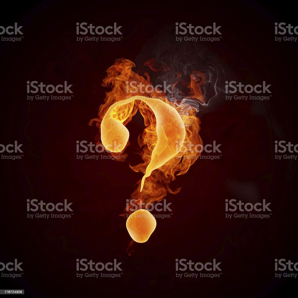 Fire Question Mark royalty-free stock photo