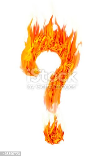 istock Fire question mark symbol on isolate 498399723