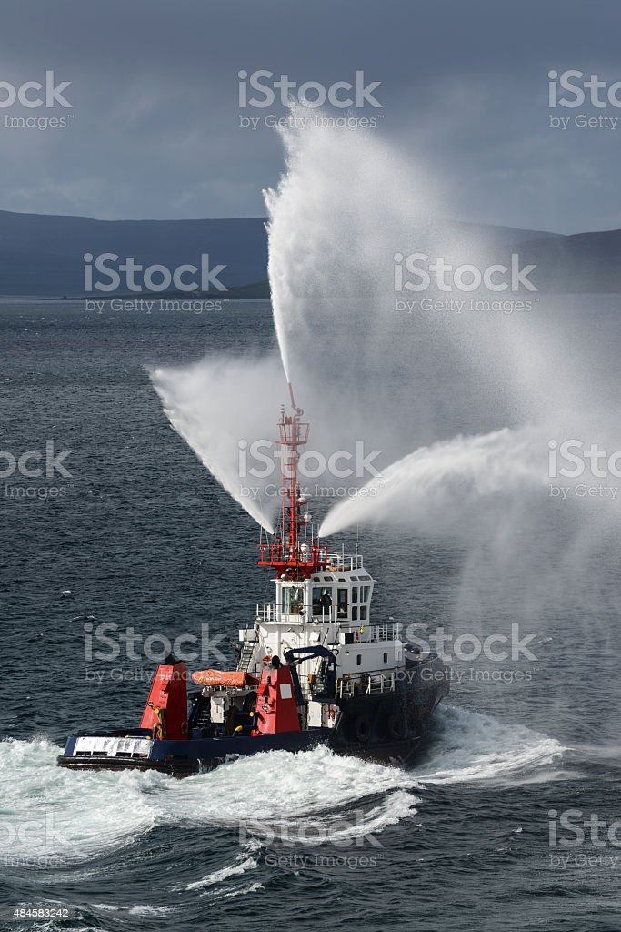 Fire Rescue boat in the Orkney Islands Scotland stock photo