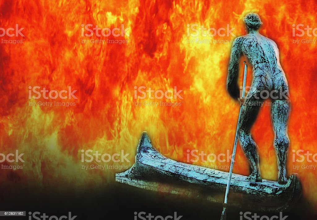 Fire River Styx And Charon Ferryman Of Souls Stock Photo