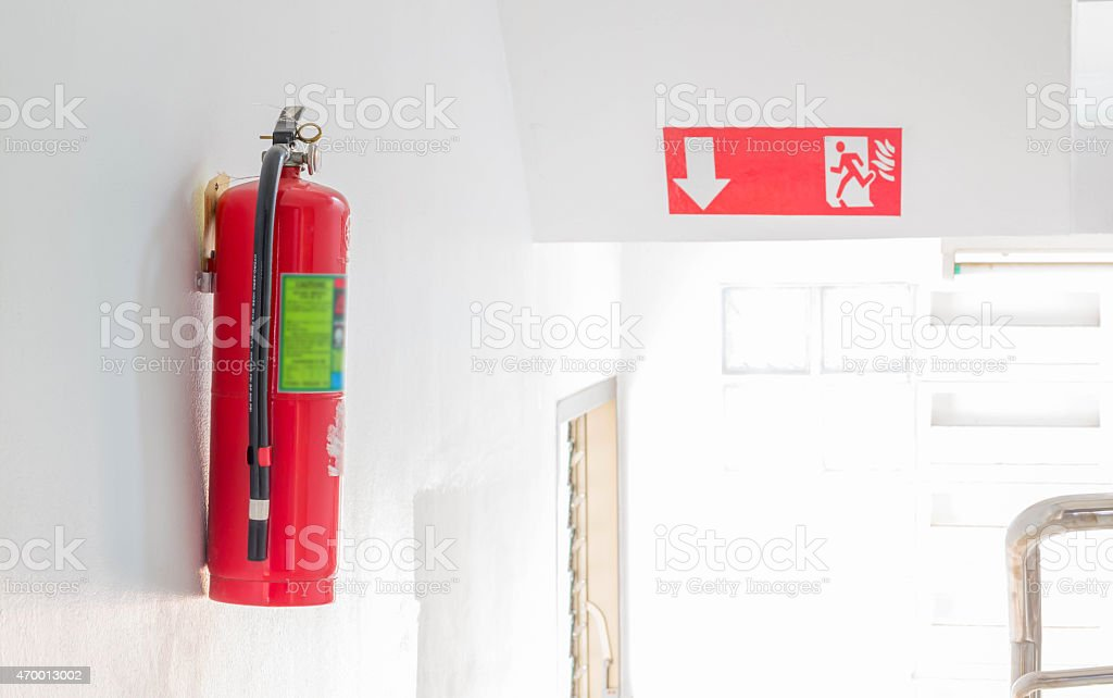 Fire safety and fire escapes stock photo
