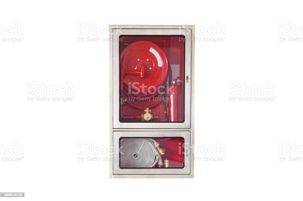 Fire safety equipment in the box isolated on white background. royalty-free stock photo