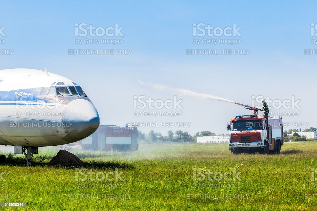 Fire Service International Airport Boryspil spends doctrines on suppression aircraft stock photo