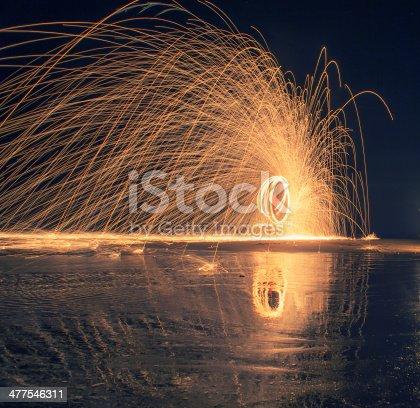 Fire show at beach in Thailand