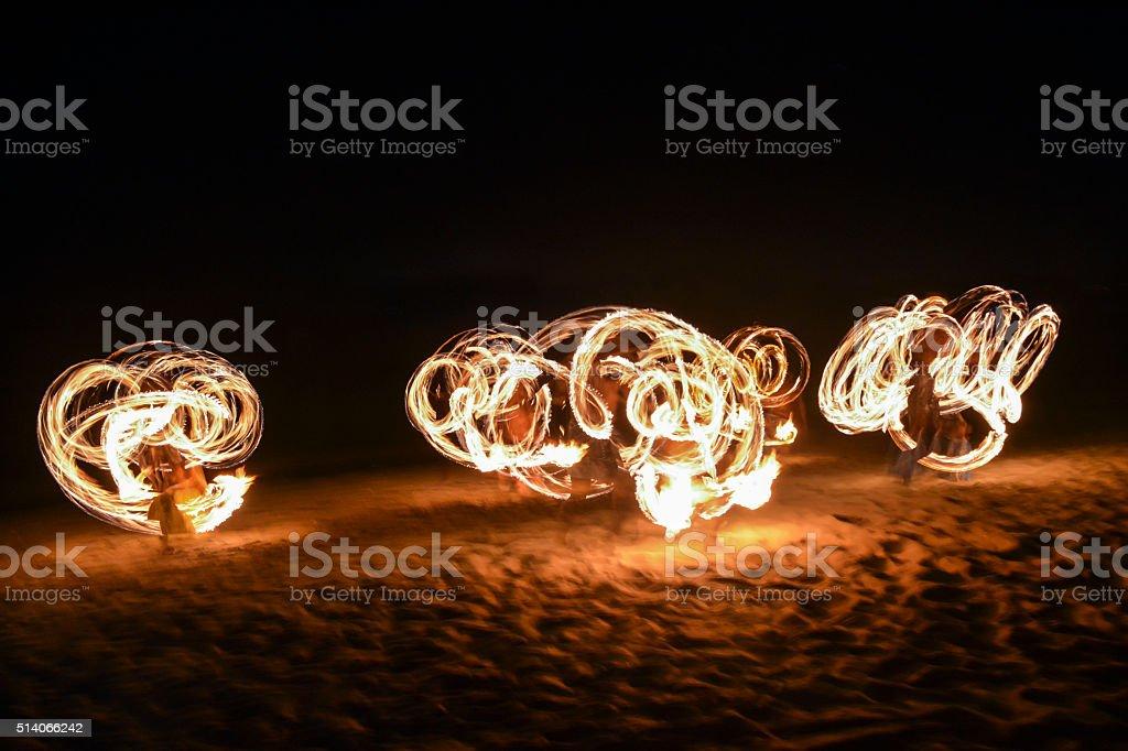 Fire show in Nadi, Fiji stock photo