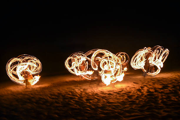 fire show in nadi, fiji - fiji stock photos and pictures