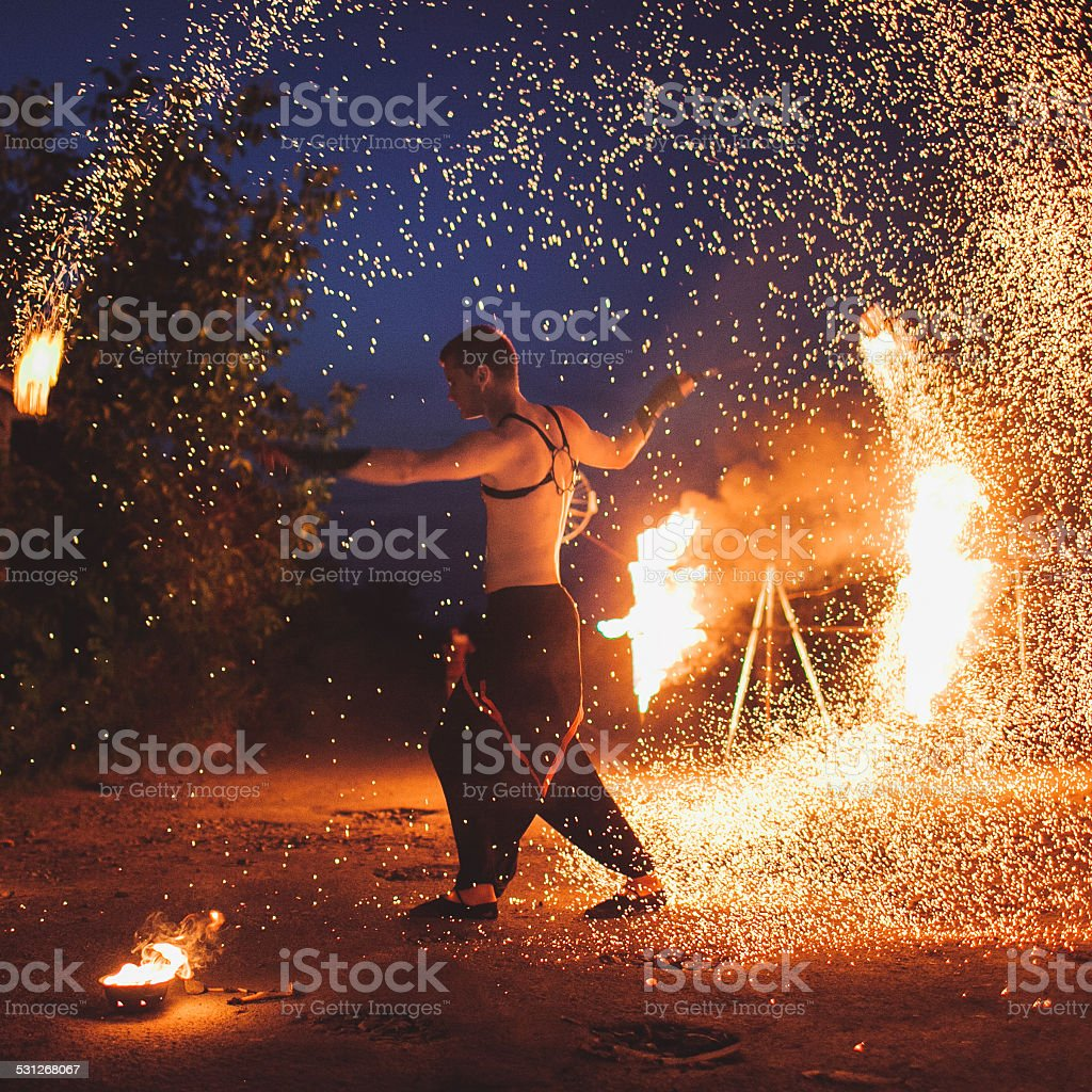 Fire show stock photo