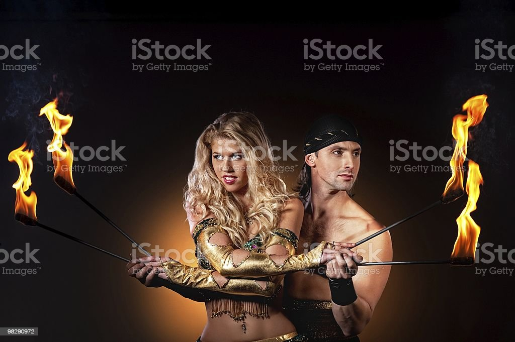 Fire show with torches royalty-free stock photo