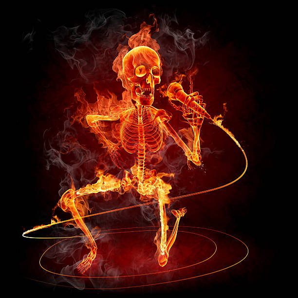 Fire skeleton with microphone stock photo