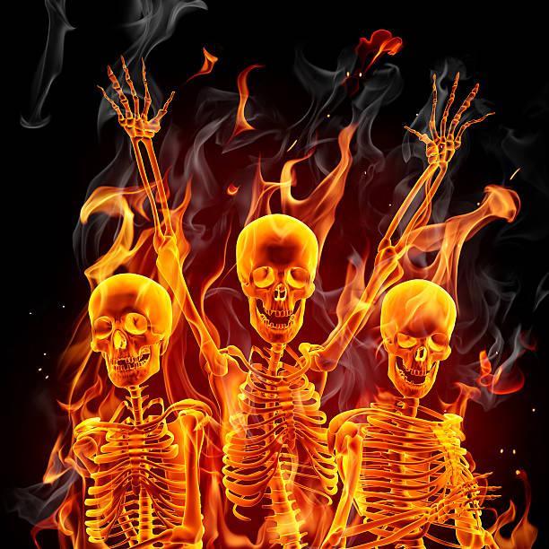 Fire skeletons stock photo