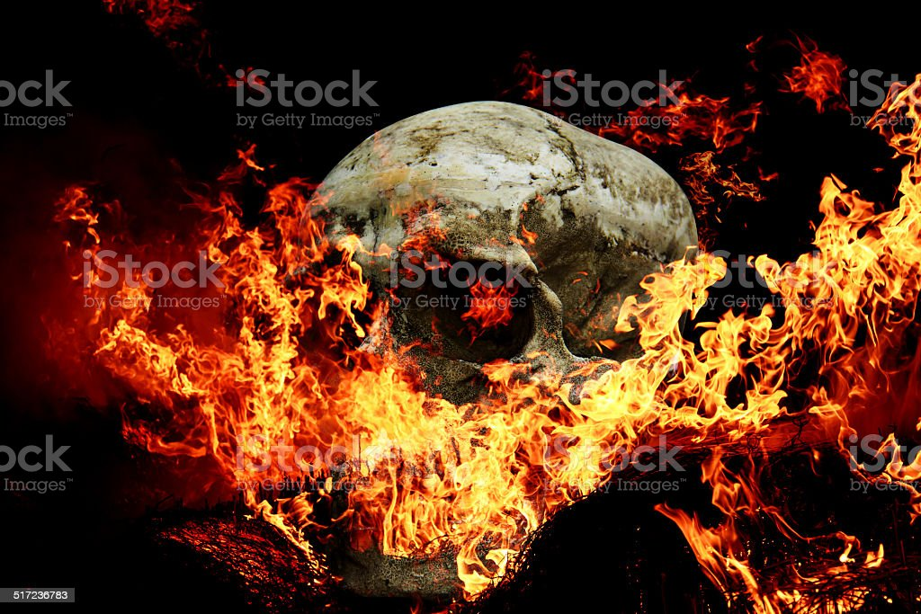Fire skull scary for Halloween. stock photo
