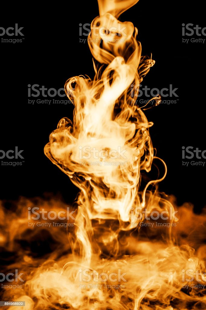 fire smoke isolated on a black background. fractal. spiral. stock photo