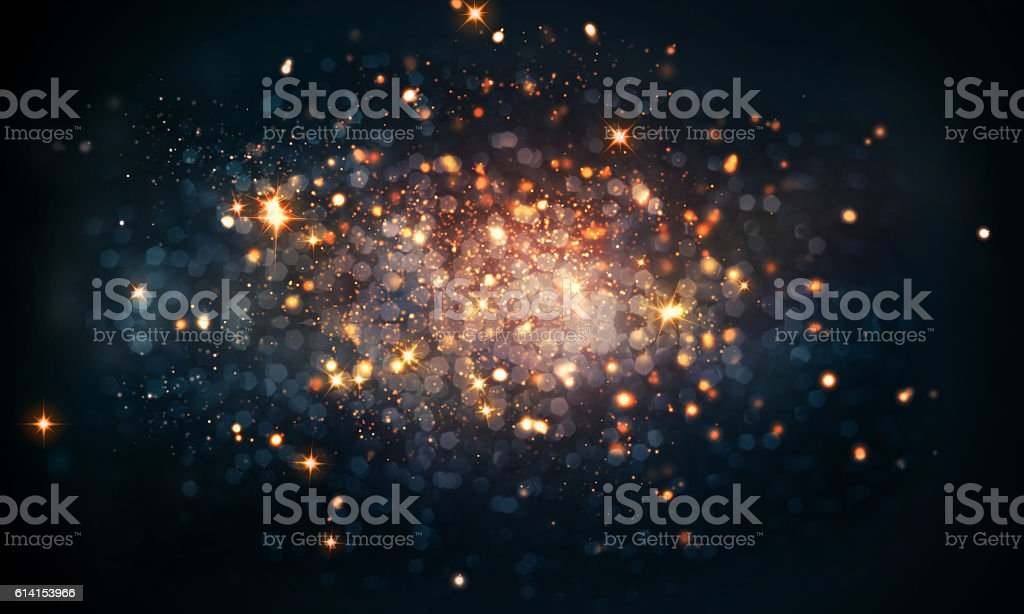 fire sparkles bokeh background stock photo