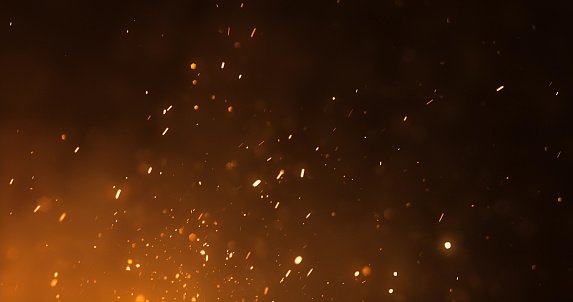 Digitally generated fire sparks, perfectly usable for a wide range of topics like adventure, camping, conflict or natural disasters.