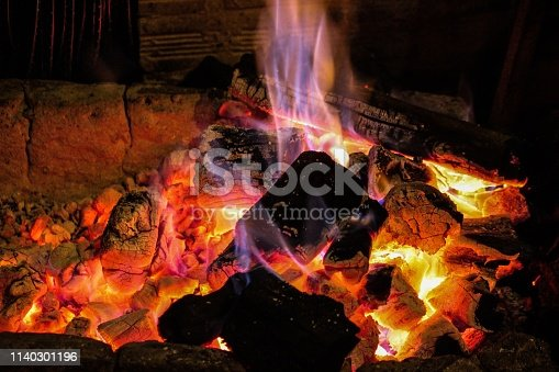 istock Fire sparks black background, burn charcoal effect, burning fire and smoke, sparks fire background 1140301196