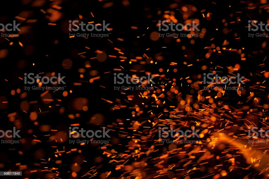 Fire Sparks Isolated on Black Background​​​ foto