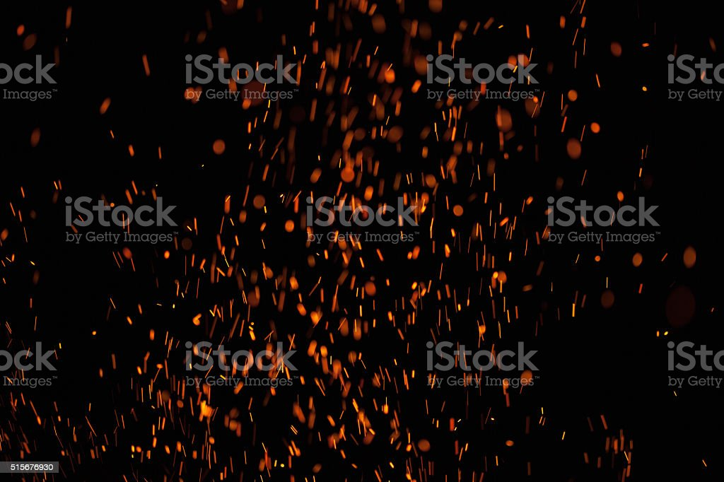 Fire Sparks Isolated on Black Background stock photo