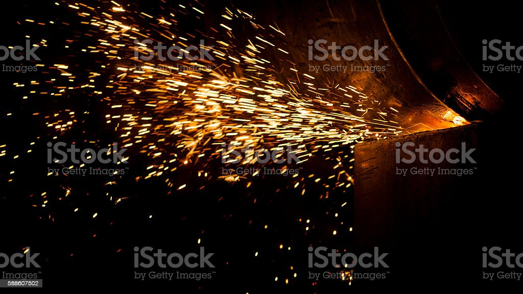 fire sparks - steel processing / industry / manufacturing