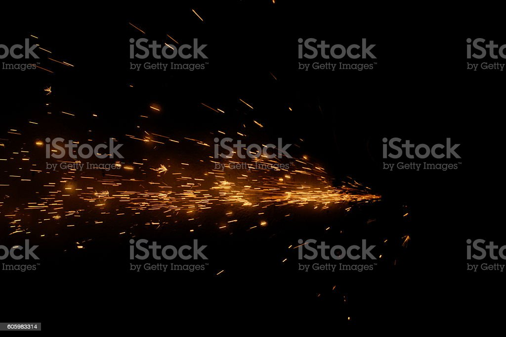 Fire sparks on a black background stock photo