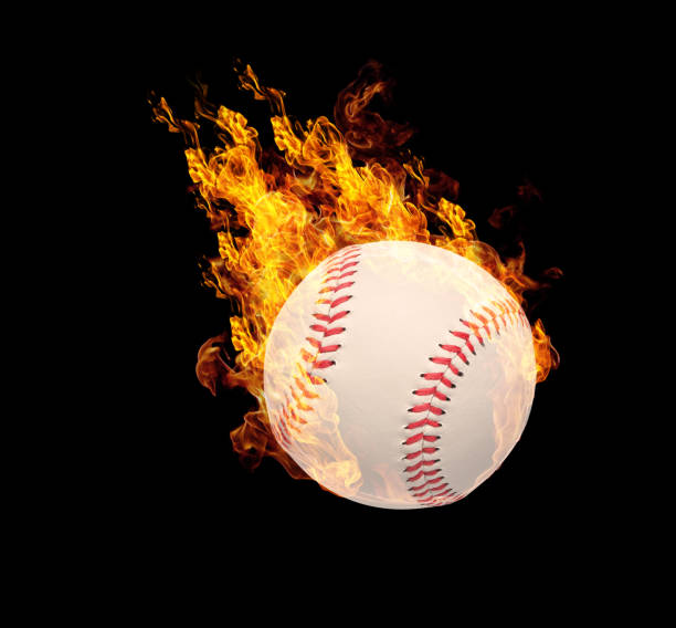 Fire sports ball effect isolated on black. stock photo
