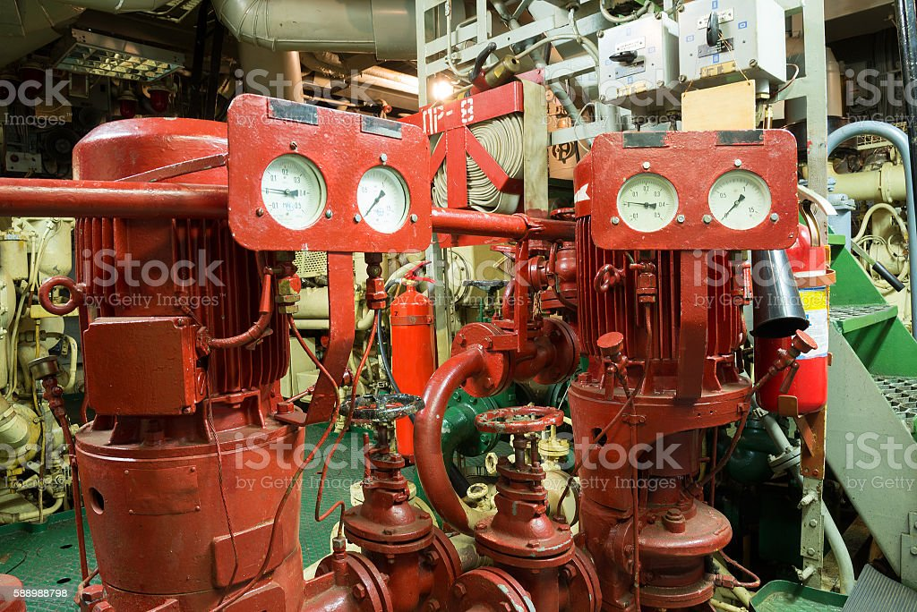Fire Sprinkler System In The Ship Engine Room Stock Photo