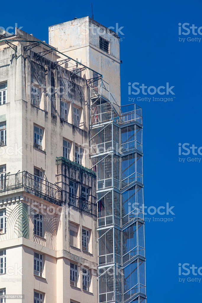 Fire stairs detail stock photo