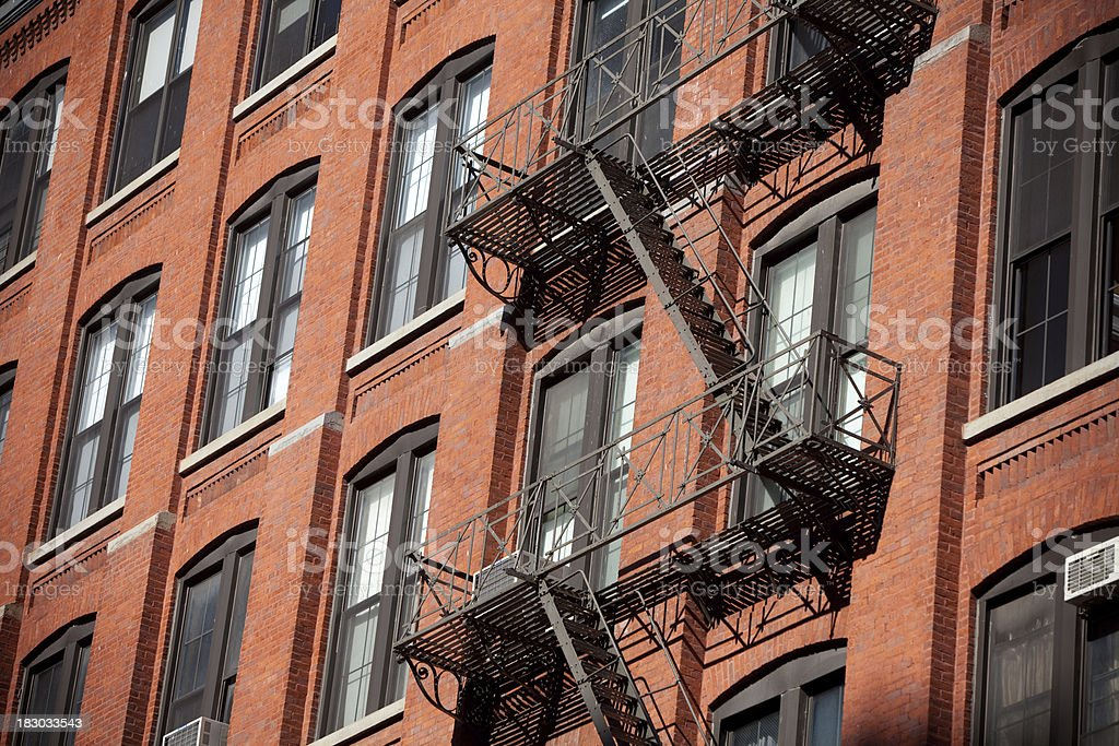 Fire Stairs in Brick building royalty-free stock photo