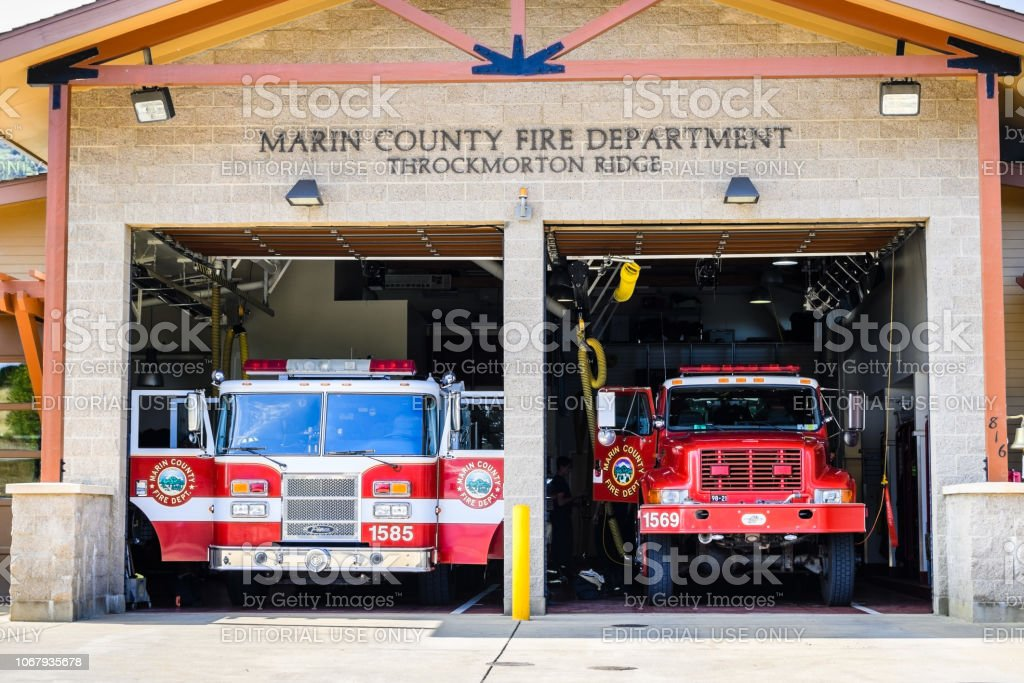 August 10, 2018 Mill Valley / CA / USA - Marin County Fire Department...