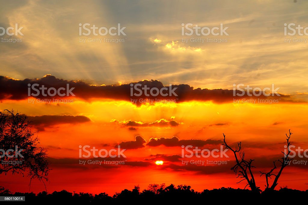 Fire Sunset stock photo