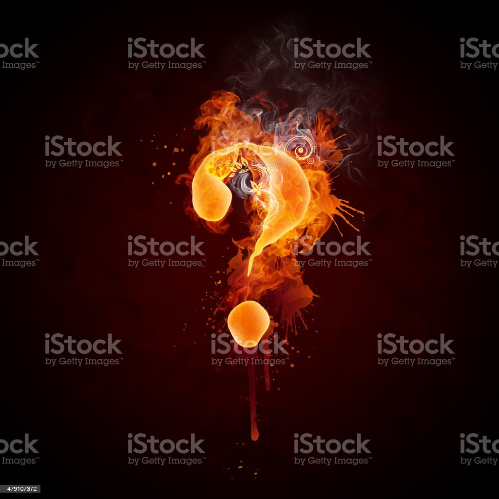 Fire Swirl Question Mark stock photo