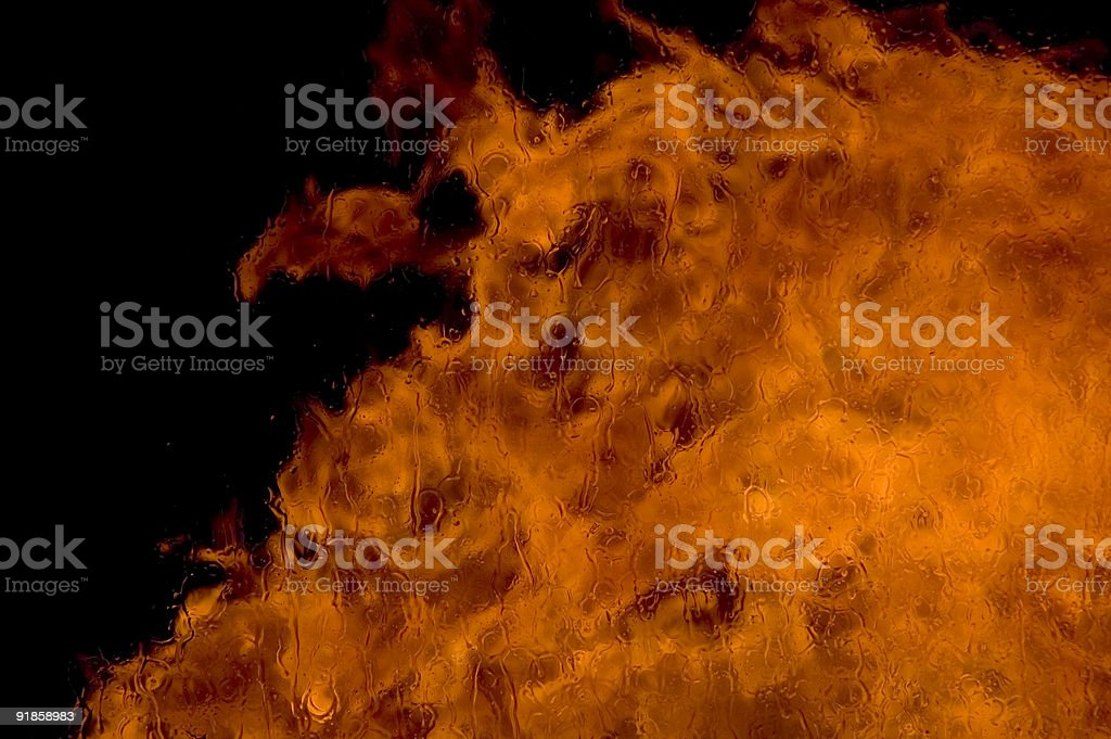 Fire through window and a devil royalty-free stock photo