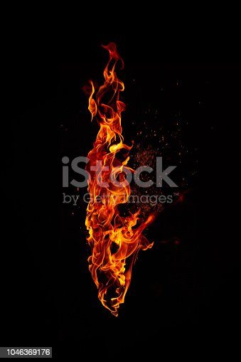 Fire torch isolated on black background