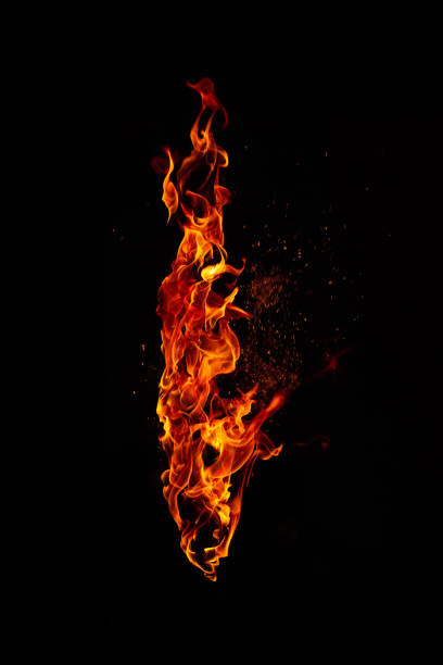 fire torch isolated on black background - flame stock pictures, royalty-free photos & images