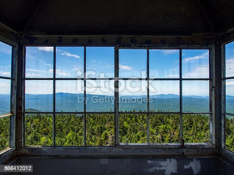 A view from inside a fire tower in the Green Mountains of Vermont.