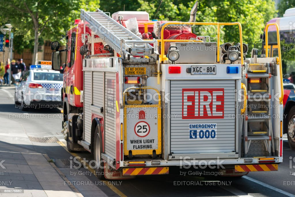 Fire truck and police car stock photo