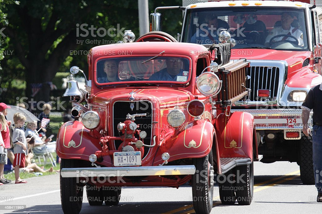 Fire Truck - Ford Historical Antique Pumper July 4th Parade stock photo
