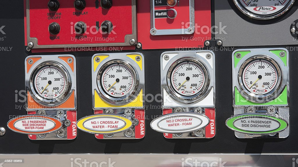 Fire Truck Instruments stock photo