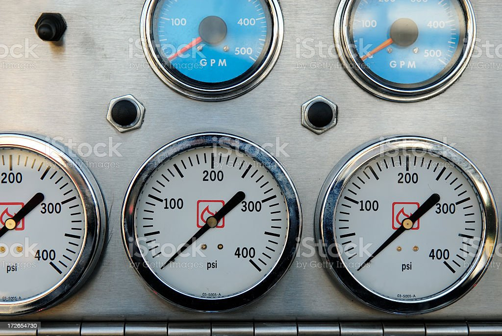 Fire truck meters royalty-free stock photo