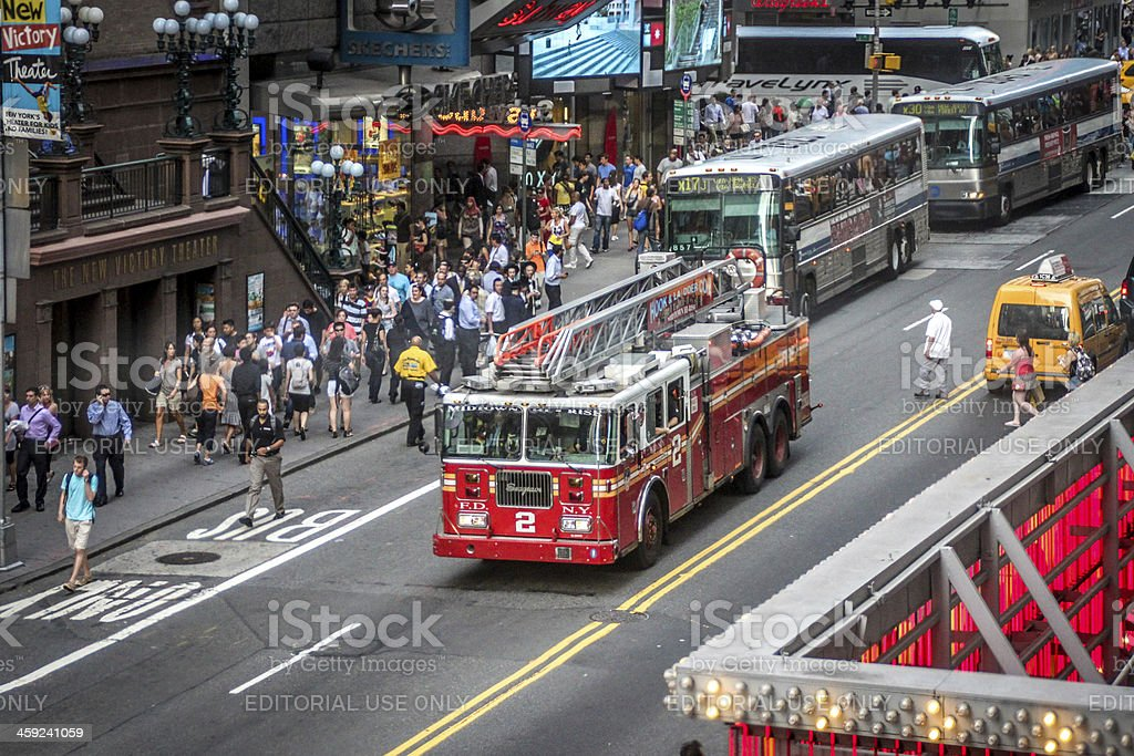 Fire truck near Times Square, New York royalty-free stock photo